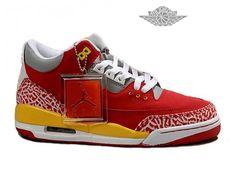 Air Jordan 3 Retro - Basket Jordan Chaussures Pas Cher Pour Homme Rouge/Gris/Jaune Air Jordan 3 Retro Homme - Authentique Nike chaussures 70% de r��duction Vendre