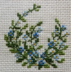 Forget me not Cross Stitch Embroidery Mini Cross Stitch, Cross Stitch Cards, Cross Stitch Flowers, Cross Stitching, Cross Stitch Embroidery, Embroidery Patterns, Hand Embroidery, Cross Stitch Designs, Cross Stitch Patterns