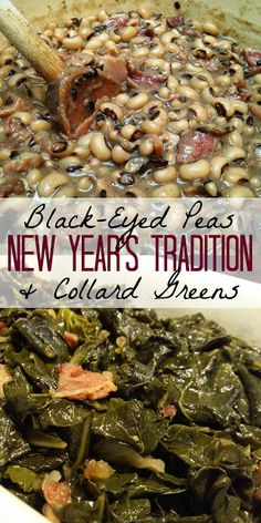 Black-Eyed Peas and Collard Greens: a New Year's Tradition Why Southerners eat black-eyed peas and collard greens on New Year's Day and recipes for both!<br> Why Southerners eat black-eyed peas and collard greens on New Year's Day and recipes for both! Vegan Quesadilla, Planning Menu, Pasta Sauce, Southern Dishes, Healthy Southern Recipes, Southern Meals, Southern Comfort, New Year's Food, Cooking Recipes