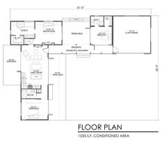 Contemporary Style House Plan - 3 Beds 3 Baths 1335 Sq/Ft Plan #484-7 Floor Plan - Main Floor Plan - Houseplans.com
