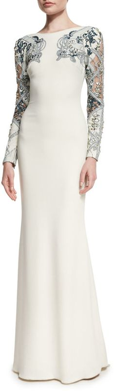 Badgley Mischka Embellished Long-Sleeve Gown, Ivory