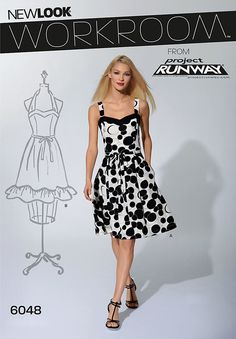 workroom from project runway, misses belted dress in two lengths with strap variations.  new look sewing pattern.