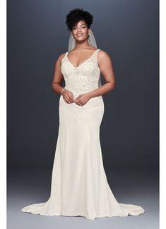 f71fbcf6b1cb0 Crepe Embroidered Plus Size Mermaid Wedding Dress 9WG3875 Davids Bridal  Plus Size