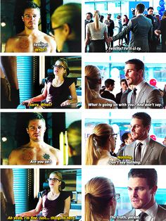 I love how much Oliver cares about Felicity and that he knows when something is a tad bit off with her <3 <3  Arrow - Oliver & Felicity #2.13 #Season2 #Olicity