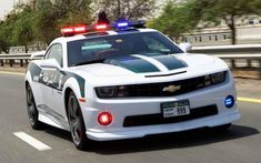 Dubai Gets Chevrolet Camaro SS Cop Car, the first in the Middle East. The Chevrolet Camaro SS is powered by a engine, pumping out 426 hp and 418 lb-ft of torque. Chevy Camaro, 2013 Chevrolet Camaro, Camaro Iroc, Lamborghini Aventador, Ferrari, Volkswagen, Aston Martin, Supercars, Luxury Cars