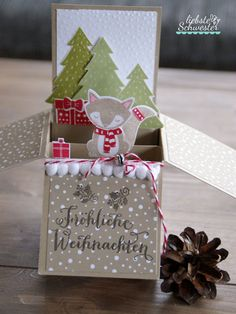 liebste schwester: Pop Up Box Card mit kleinem Füchslein, Crozy Critters, Stampin`Up!, Pop UP Box Card