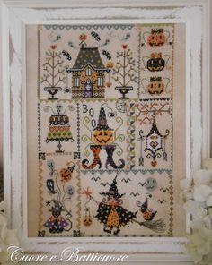 Reserved for Jeanette - NEW Halloween in Quilt cross stitch pattern by Cuore e Batticuore at cottageneedle.com witch black cat haunted house by thecottageneedle
