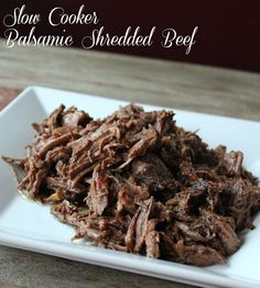 Slow Cooker Balsamic Shredded Beef Recipe. 328 calories and 8 weight watchers points plus.
