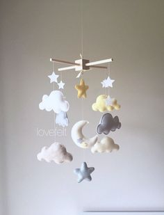 baby mobile  cloud mobile  clouds and stars by GiseleBlakerDesigns