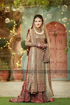 The ultimate gold #bridal with tones of #traditional #red! Intricacy and detail of immense quality. Various methods of #embellishments that all our artisans are experts in. A fine net of gold #crystals as beads luxuries the whole outfit. #mizznoor #bridalmua #voguemagazine #bridalmua #bridetobe #bridedress #gettingmarried #asianwedding #weddingdress