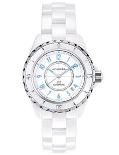Chanel's J12 timepiece—shown here with a high-gloss white-ceramic body accented by eye-catching light-blue numerals—exudes elegance