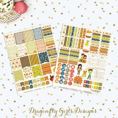 A mini kit of 125 printable stickers designed to coordinate with the vertical layout of the Erin Condren Life Planner for the holiday of Thanksgiving. All designs are scaled to fit within the weekly boxes. But can be used with any planner of your choice.