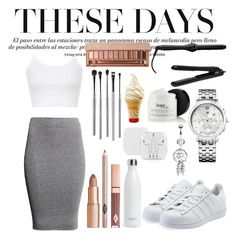 """""""More white"""" by rowan-na-daw ❤ liked on Polyvore featuring H&M, Bling Jewelry, Lorion, adidas Originals, Tommy Hilfiger, Topshop, Urban Decay, esum and S'well"""