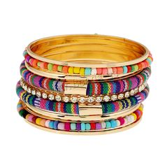 Zinc Alloy Bangle Set, with Nylon Cord & Glass Seed Beads, gold color plated, with rhinestone & multi-strand, multi-colored, lead & cadmium free, 72mm, Inner Diameter:Approx 60mm, Length:Approx 7 Inch,china wholesale jewelry beads