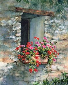 Doors or windows with flowers watercolor Watercolor Landscape, Watercolour Painting, Watercolor Flowers, Watercolours, Scenery Paintings, Landscape Paintings, Flower Window, Watercolor Pictures, Painting Inspiration