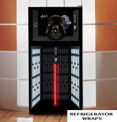 Star wars DARTH VADER refrigerator wrap sticker, Black, White, Red