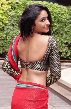 Pooja Sri In Half Red Saree Photos