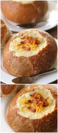 The easiest and yummiest soup ever! Cheesy Potato soup - just throw it all in the crock-pot! [ MyGourmetCafe.com ] #lunch #recipes #gourmet