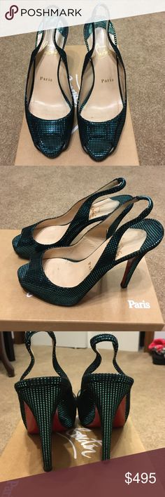 Christian Louboutin N Prive Slingback Christian Louboutin N Prive 120 Suede S square turquoise. Soles were protected by the leather spa in NYC which Louboutin recommends. Cannot be bundled, I will work with reasonable offers. Christian Louboutin Shoes Heels