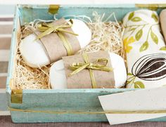 CARVED SOAPS  A little whittling, and plain soaps become precious his and hers bars. Pair them with bath towels from the registry, or help kids carve their own for the couple