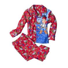Disney Jake and the Neverland Pirates Pajama Set - Toddler Boys (2T) Includes: Long Sleeve Shirt and Matching Pants. Red/Multi. Button Front. Flame Resistant. Machine Wash - Imported.  #Disney #BabyProduct
