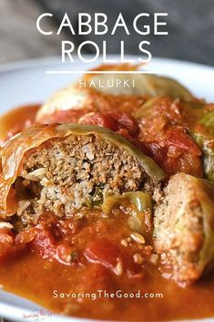 One of the comfort foods of my youth are stuffed cabbage rolls, also called Halupki. This is my family's cabbage roll recipe and you will be surprised how easy they are to make. This is the ultimate comfort food from the old country. #stuffedcabbage #cabbagerolls #cabbageroll #halupki #STGRecipes Slow Cooker Recipes, Crockpot Recipes, Cooking Recipes, Healthy Recipes, Easy Recipes, Entree Recipes, Wrap Recipes, Easy Cabbage Rolls, Recipe For Cabbage Rolls
