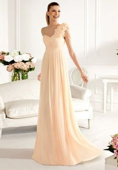 Chiffon One-Shoulder Sweetheart Empire Long Bridesmaid Dress.