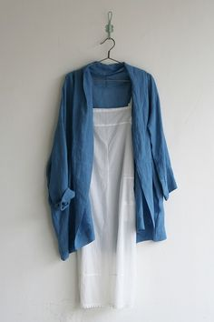 idea - neutral & blue loose jacket