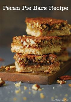 The crust is like shortbread - the middle is sweet and gooey and the pecans are crunchy. These Pecan Pie Bars are a delicious combination and perfect for Thanksgiving!