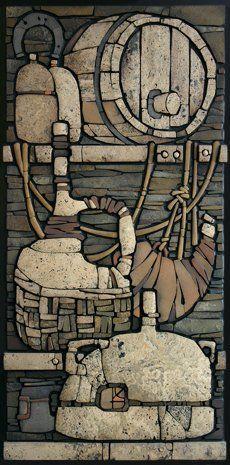 Pantry -  relief mosaic 450h900 Sayanogorsk 2010 Easel mosaic - Sergey Karlov
