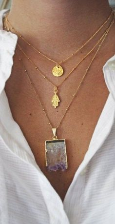 Layering - Raw Amethyst Slice Necklace Order of pendants- shapes