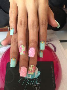 Acrylic nails, nails art, nails pink&green nails