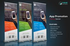 Mobile App Roll-Up Banner by ThemeDevisers on @creativemarket
