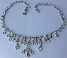 Vintage Art Deco Clear Paste Dangling Necklace | eBay