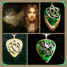 The beauty and mystery of a Celtic goddess! Gold black guitar pick Celtic knot pendant $26, Green wooden Rose with Crystal $26, Green white gold Celtic knot $26 - purchase thru website!