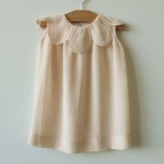 1925 Loose fitting peach silk dress, with fine tatting work on a beautifully shaped petal collar 649 Little Girl Fashion, Little Girl Dresses, Kids Fashion, Girls Dresses, Baby Dress Patterns, Fashion Moda, Kid Styles, My Baby Girl, Baby Baby