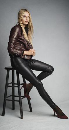 Ralph Lauren Black Label: Bordeaux biker jacket, stretch-leather pant and suede pumps
