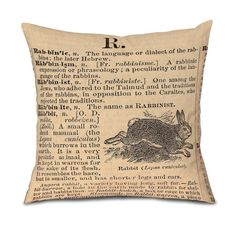 Pillow Cover Rabbit Dictionary Page Fits 18 pillow by OsoAndBean, $52.00