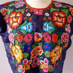 Mexican embroidered Tehuana Huipil Blouse Navy by LivingTextiles