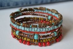 Southwestern Memory Wire Bracelet Wrap Bracelet por IvysPebbles