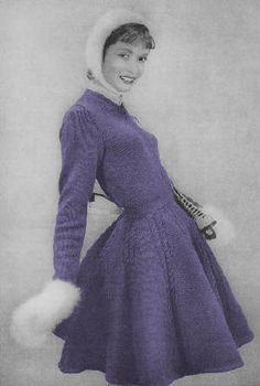 Ladies Skating Dress, Hat & Mitts Vintage Knitting Pattern for download Sizes 12, 14, 16, 18 Bust 32, 34, 36, 38