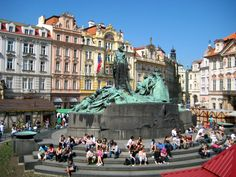 Old Town Square at Easter, Prague. Jon (or Jan) Hus. They took down the gate and grass so now you can read the inscription on the statue.