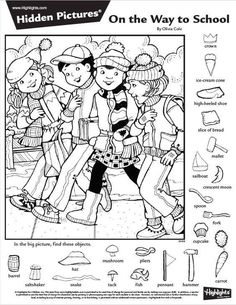 Hidden Picture Games, Hidden Picture Puzzles, Colouring Pages, Coloring Sheets, Kindergarten Activities, Activities For Kids, Hidden Pictures Printables, Highlights Hidden Pictures, Hidden Figures
