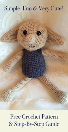 Free Amigurumi Patterns For Beginners and Pros - Dobby The House Elf Toy - Easy Amigurimi Tutorials With Step by Step Instructions - Learn How To Crochet Cute Amigurimi Animals, Doll, Mobile, Mini Elephant, Cat, Dinosaur, Owl, Bunny, Dog - Creative Ways to Crochet Cool DIY Gifts for Kids, Teens, Baby and Adults http://diyjoy.com/free-amigurumi-patterns #catsdiyhouse
