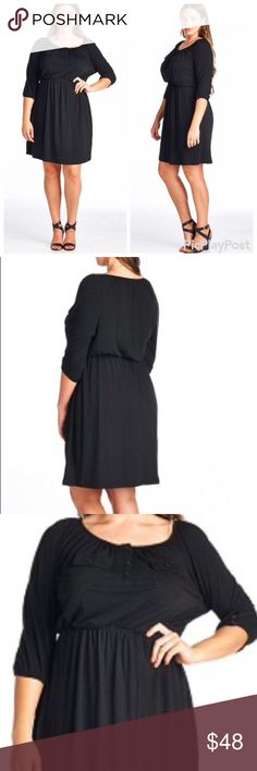 🆕💕 Must Have 3/4 Sleeve Midi Black Dress ❌No Trades❌ discounts on bundles - In love with this dress - FASHIONABLE PLUS SIZE MID-SLEEVE DRESS- only one of each size available Dresses Midi