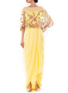 Yellow Cape Style Draped Gown