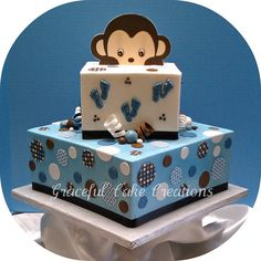 Square Blue and Brown Baby Shower Cake | Flickr - Photo Sharing!