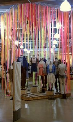 // urban outfitters visual merchandising. i love how you can create art with even more art.