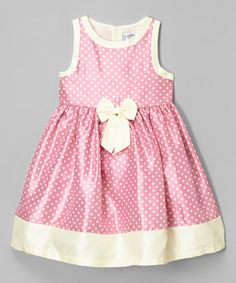 Loving this Pink & Cream Polka Dot Shantung Dress - Infant, Toddler & Girls on #zulily! #zulilyfinds