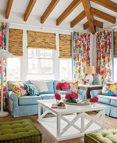 Colorful Cottage Decor in this pop full of color sitting room. too much on the curtains, but i like everything besides that